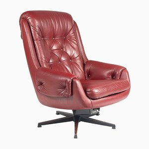 Scandinavian Modern Cow Leather and Eco-Leather Swivel Chair from PeeM, 1970s
