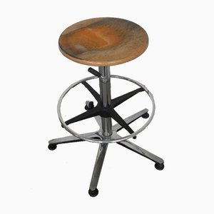 Vintage Italian Beech and Iron Stool, 1970s
