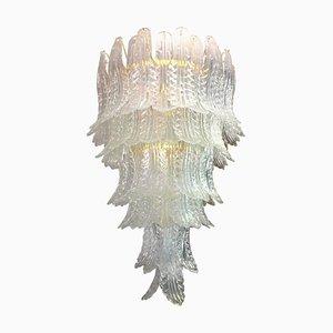 Grand Lustre à Feuilles Mid-Century en Verre de Murano Transparent par Ercole Barovier pour Barovier & Toso, 1960s