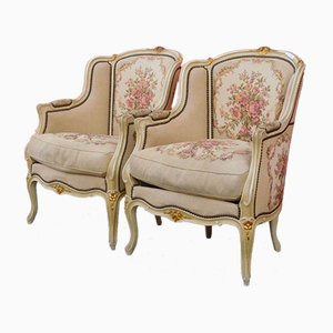 Louis XV Style Lacquered Armchairs with Golden Highlights, 1930s, Set of 2