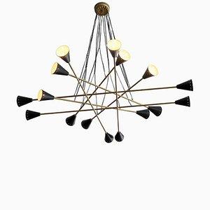 Lámpara de araña Sputnik de latón, años 50