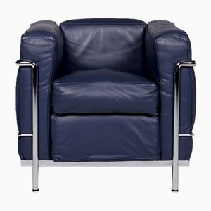 Blauer LC2 Sessel von Le Corbusier für Cassina, 1970er