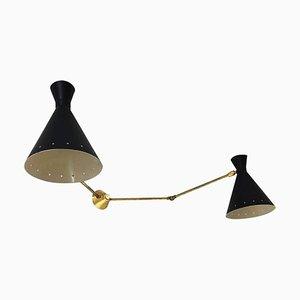 Lámpara de pared italiana Mid-Century ajustable de latón, años 50