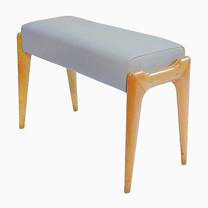 Italian Modern Aniline Leather and Ash Stool by Ico Parisi, 1950s