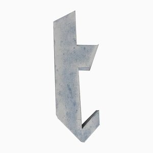 Vintage Italian Tin Letter T, 1970s