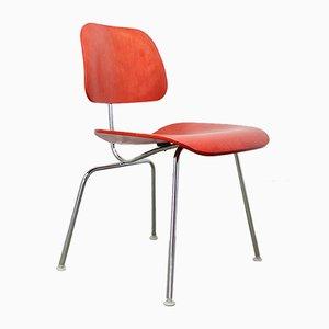 Sedia da pranzo DCM in compensato e metallo cromato di Charles & Ray Eames per Herman Miller, anni '80