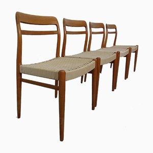 Skandinavische moderne dänische Esszimmerstühle aus Teakholz, 1960er, 4er Set