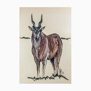 Antilope en Aquarelle & Charbon avec Cadre en Bois par Jean Poulain, 1935