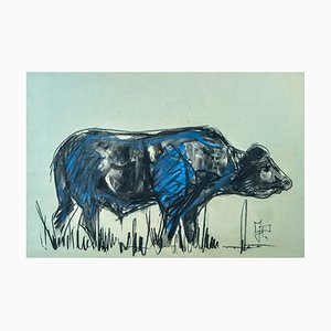 Le Buffle Watercolor & Charcoal Artwork in Wooden Frame by Jean Poulain, 1937