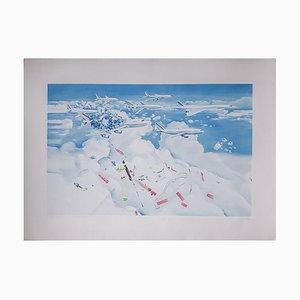 Sérigraphie Accident d'avion par Jacques Monory, 1980s