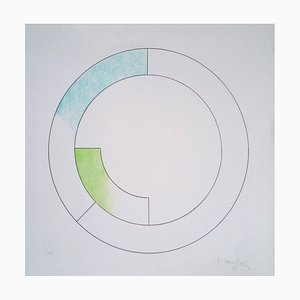 Composition Cercles Screen Print in Blue & Green by Gottfried Honegger, 2015