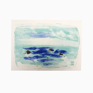 Litografía La mer battant les récifs de Jean Hélion, 1965