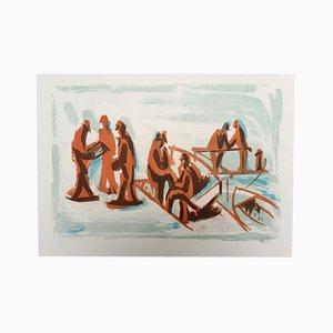 Les Passants sur le Port Lithografie von Jean Hélion, 1965