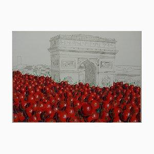 Lithographie Paris Envahi par les Cerises par Jacques Halbert, 1979