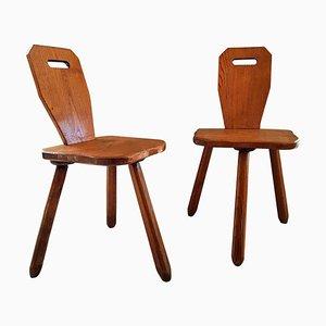 Französische Mid-Century Esszimmerstühle aus Holz, 1950er, 2er Set