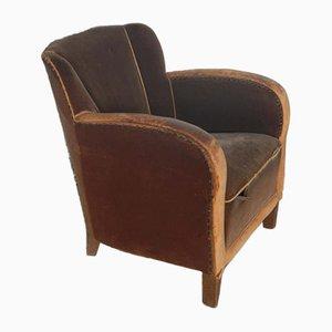 Mid-Century Italian Velvet Armchair, 1950s