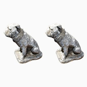 Vintage English Composite Stone British Bulldog Garden Statues, Set of 2