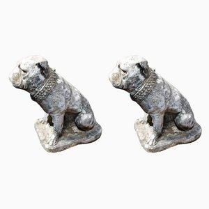 Vintage English Composite Stone British Bulldog Garden Statues, Set of 2