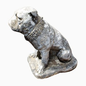 Vintage English Composite Stone British Bulldog Garden Statue