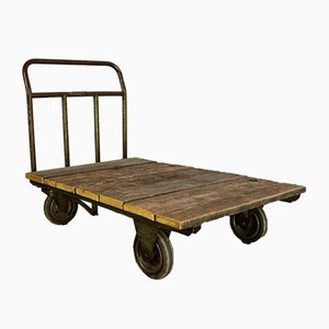 Mid-Century Italian Iron and Fir Trolley, 1950s