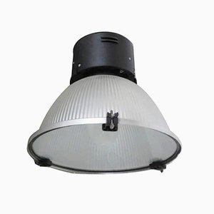 Industrielle italienische Deckenlampe aus Aluminium & Glas, 1980er