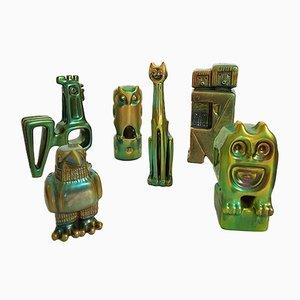 Figura Eosin de cerámica verde de Zsolnay, años 60. Juego de 6