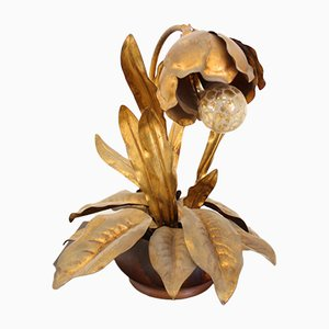 Vintage Italian Gilt Flower Table Lamp, 1970s