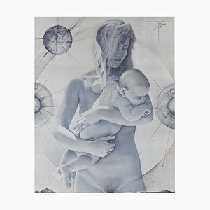 Poster La Jeune Femme a L'Enfant vintage di Pierre-Yves Tremois, anni '60