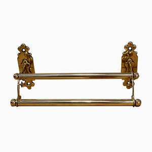 Antique Edwardian Brass Hotel Paper Rack, 1901