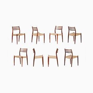 Chaises de Salle à Manger Modèle 78 en Palissandre par Niels Otto Møller pour J.L. Møllers, 1962, Set de 8