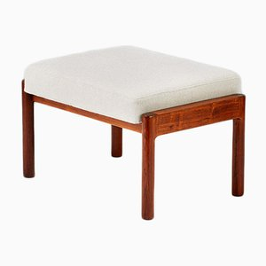 Danish Fabric and Rosewood Ottoman by Kurt Østervig for Slagelse Møbelværk, 1950s