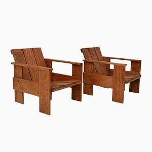 Italian Beech Crate Lounge Chair by Gerrit Rietveld for Cassina, 1980s