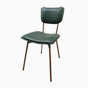 Französische Esszimmerstühle aus Messing und Leder von Jacques Adnet, 1950er, 4er Set