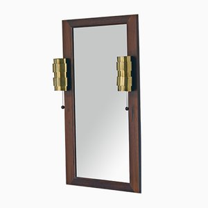 Mid-Century Rosewood Mirror with Brass Sconces by Hans-Agne Jakobsson, 1960s