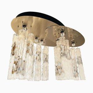 Lámpara de araña grande de cristal de Murano de Mazzega, años 70