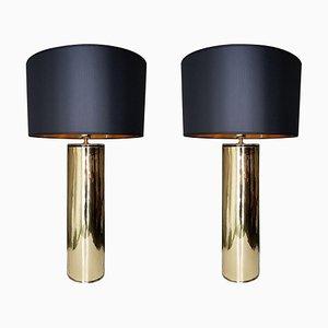 Lámparas cilíndricas de cristal de Murano dorado, años 70. Juego de 2