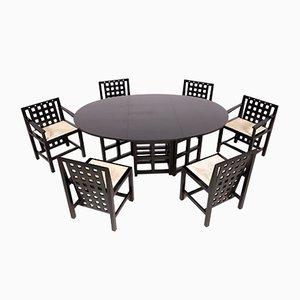 Tavolo DS1 con sei sedie DS3 nere di Charles Rennie Mackintosh per Cassina, anni '70