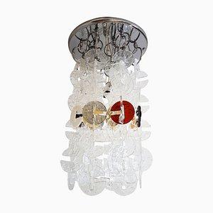 Lampadario Mid-Century in metallo cromato e vetro di Murano di Carlo Nason per Mazzega, anni '70