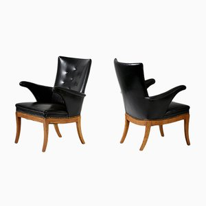 Danish Leather and Oak Armchairs by Frits Henningsen, 1930s, Set of 2