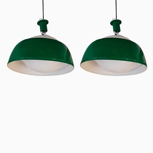 Italian Glass and Metal Ischia Pendant Lamps by Alessandro Pianon for Candle, 1960s, Set of 2