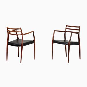 Danish Rosewood Model 62 Armchairs by Niels Moller for J.L. Møllers, 1962, Set of 2