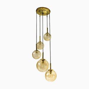 Brass and Glass Pendant Lamp from Fischer Leuchten, 1950s