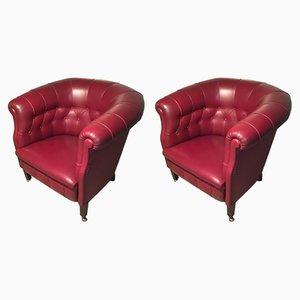 Fumoir Lounge Chairs by Renzo Frau for Poltrona Frau, 1980s, Set of 2