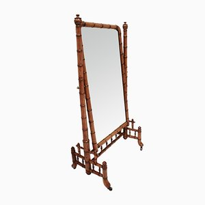 Antique French Victorian Faux Bamboo Chevel Mirror