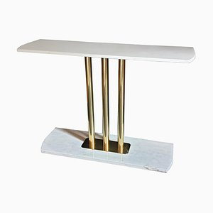 Large Mid-Century Modern Carrara Marble and Brass Console Table, Italy