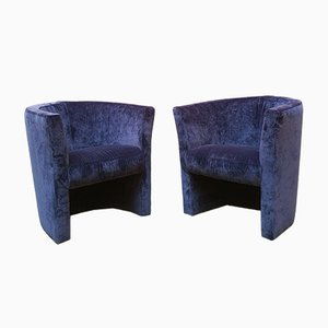 Vintage Italian Blue Velvet Lounge Chairs, 1970s, Set of 2