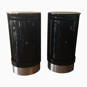 Art Deco Style French Column Shaped Bar Cabinets, 1970s, Set of 2