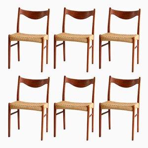 Sillas de comedor danesas de teca de Arne Wahl Iversen para Glyngøre Stolefabrik, años 60. Juego de 6