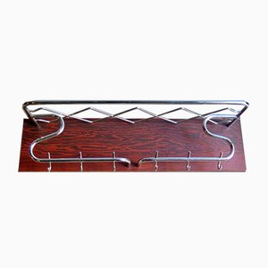 Art Deco Style Chrome and Rosewood Veneer Coat Rack, 1950s