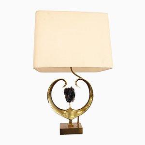 Lampada da tavolo in ottone e quarzo di Willy Daro, anni '70